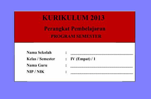 Promes Kelas 4 Kurikulum 2013 Revisi Semester 1 dan 2