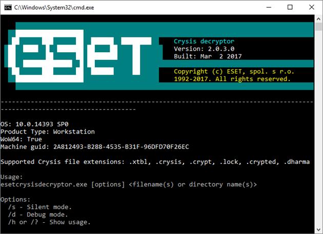 Aplikacja ESET Crysis decryptor