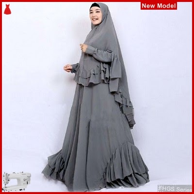 FHGS9085 Model Syari Salwa Abu, Perempuan Pakaian Muslim Jersey BMG