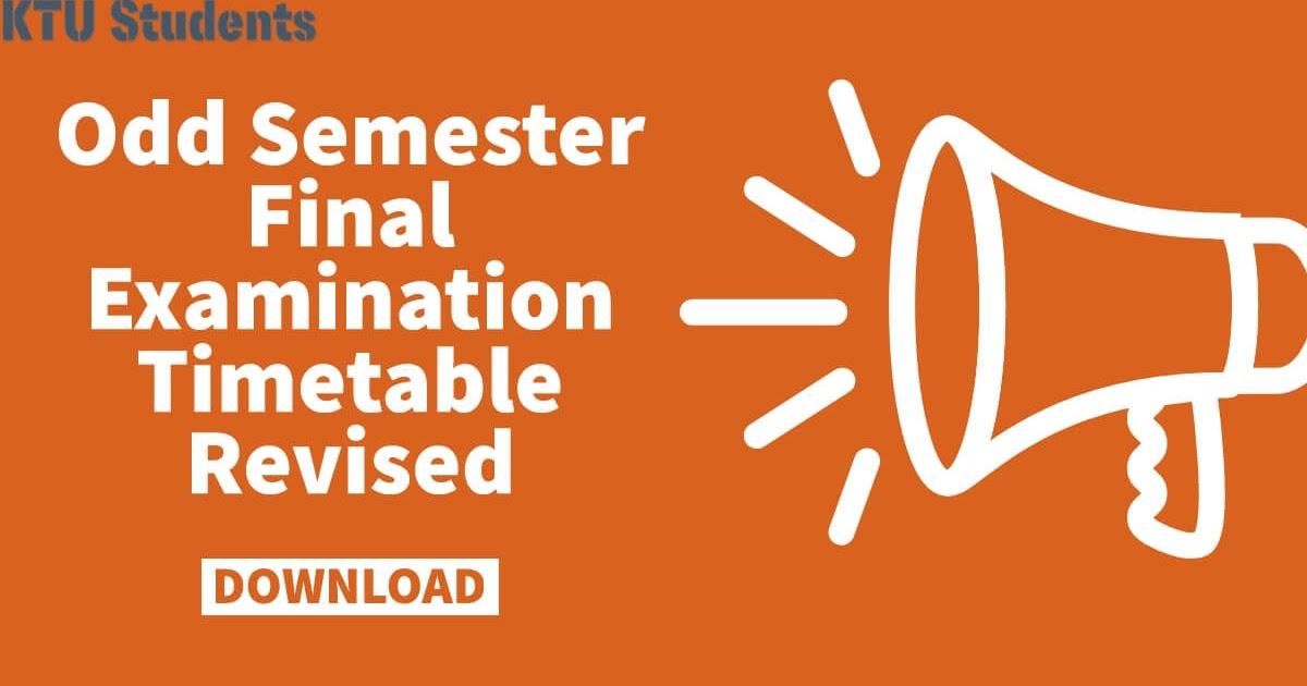 Odd Semester Final Examination Timetable Revised December