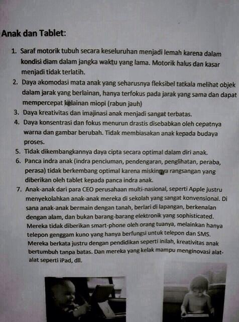Bahaya Main Gadget iPad/Android/BB Bagi Anak Usia Dini