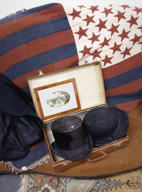 aliciasivert, alicia sivertsson, france, normandy, frankrike, normandie, la brocante du vieil elbeuf, second hand, thrift shop, loppis, begagnat, loppmarknad, antikt, antikviteter, vintage, hat, hatt, stars and stripes, usa, america, amerika, flag, flagga