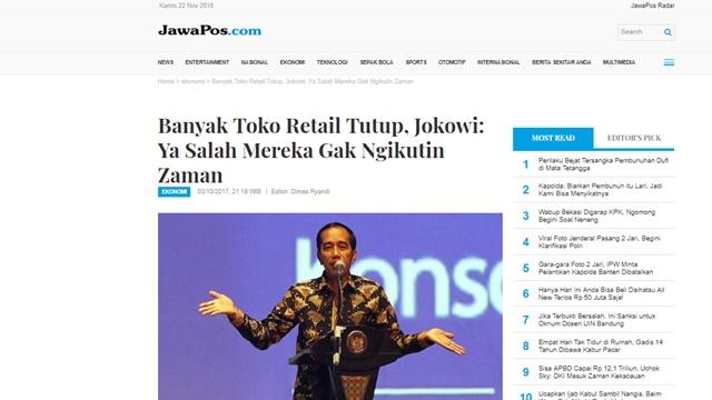 Banyak Toko Retail Tutup, Jokowi: Ya Salah Mereka Gak Ngikutin Zaman