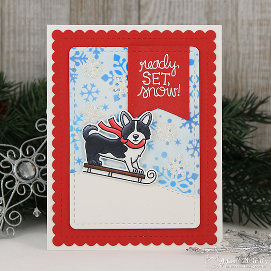 Corgi dog on sled | Card by Juliana Michales | Winter Woofs Dog Stamp set and Frames & Flags Die Set by Newton's Nook Designs #newtonsnook