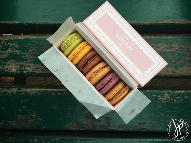 french macarons on box