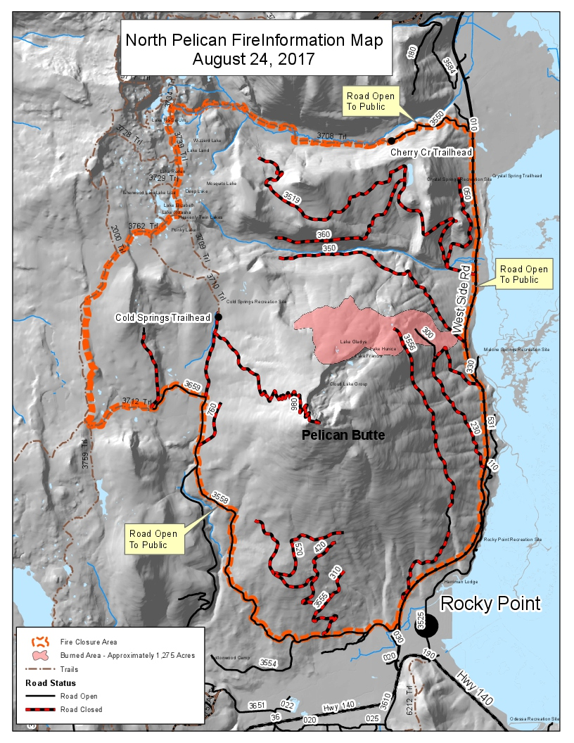 north pelican fire information map