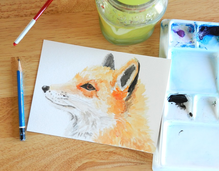 Orange Woodland Fox Original Watercolor Painting by Elise Engh (Grow Creative)