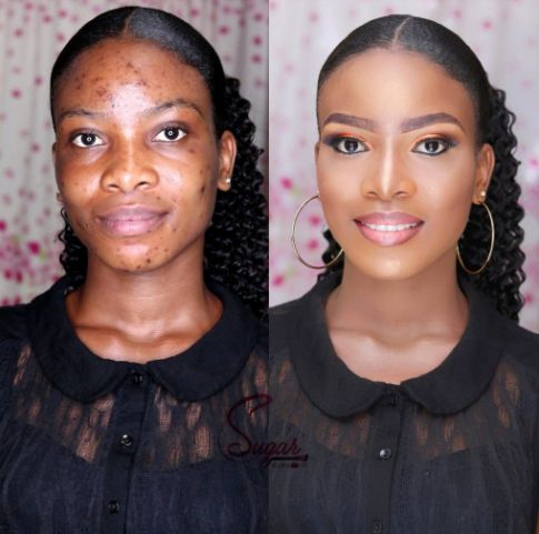 Before & After Makeup Transformation Of A Beautiful Lady