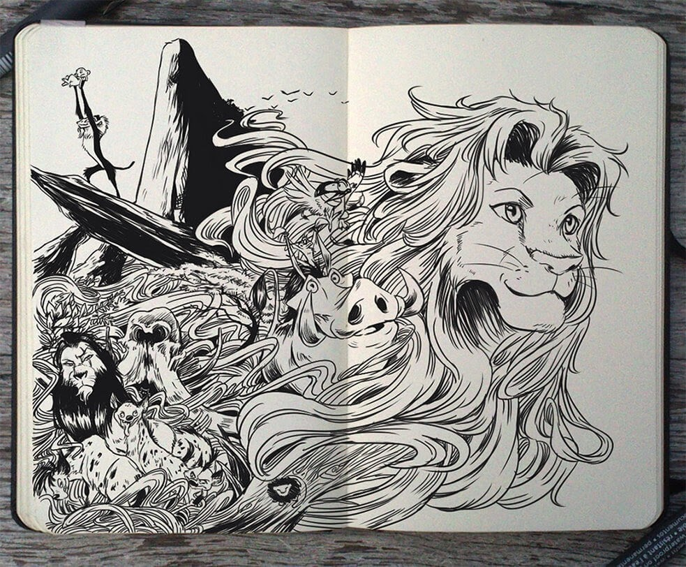 05-The-Lion-King-Gabriel-Picolo-Disney-Fantasy-Ink-Drawings-in-Moleskine-Illustrations-www-designstack-co