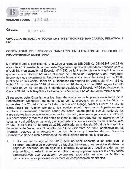 ATENCIÓN | Sudeban emite circular ante reconversión monetaria en Venezuela