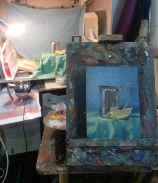 still life demonstration oils from life art class in Terenure Dublin