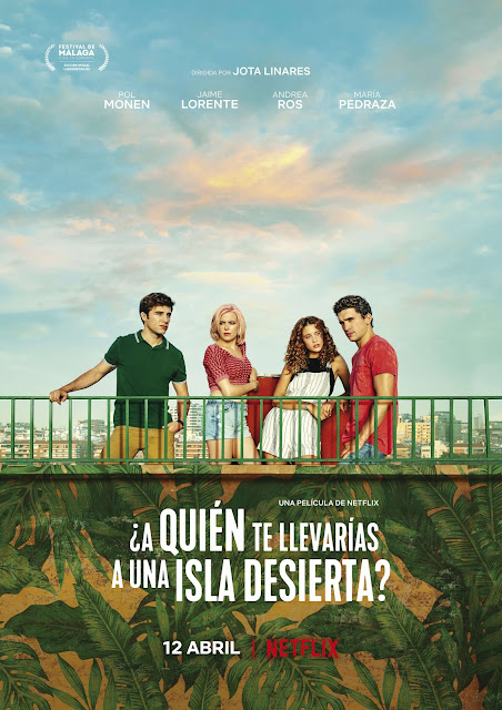 ¿A quién te llevarías a una isla desierta?, Pol Monen, Jaime Lorente, Andrea Ros, María Pedraza, póster