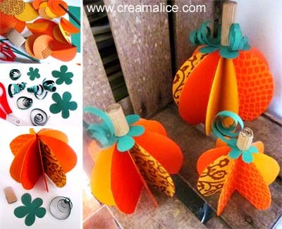 diy citrouille papier halloween diy paper pumpkin. Black Bedroom Furniture Sets. Home Design Ideas