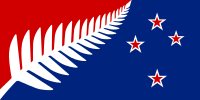 Proposed new flag design for New Zealand: Silver Fern (Red, White and Blue) by Kyle Lockwood, Option B on the ballot for the November-December 2015 referendum vote