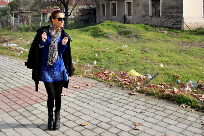 cobalt blue and black winter look