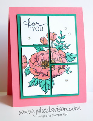 Stampin' Up! Birthday Blooms Cut Up Card with measurements #stampinup www.juliedavison.com