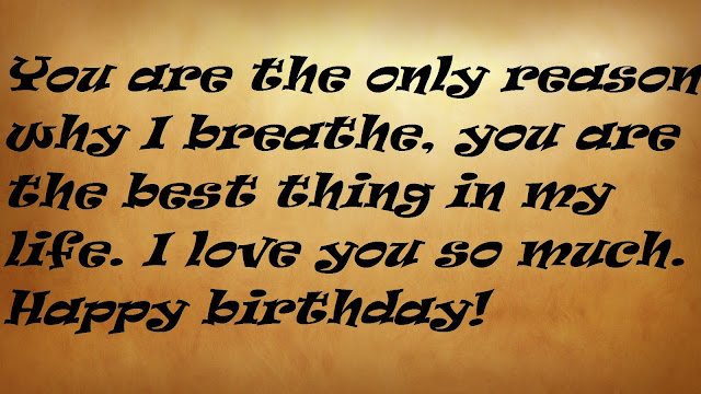 You are the only reason why I breathe, you are the best thing in my life. I love you so much. Happy birthday!