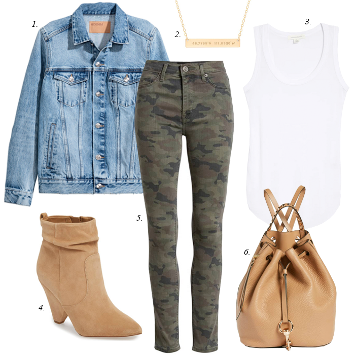 camo jeans, suede boots, denim jacket, made by mary necklace