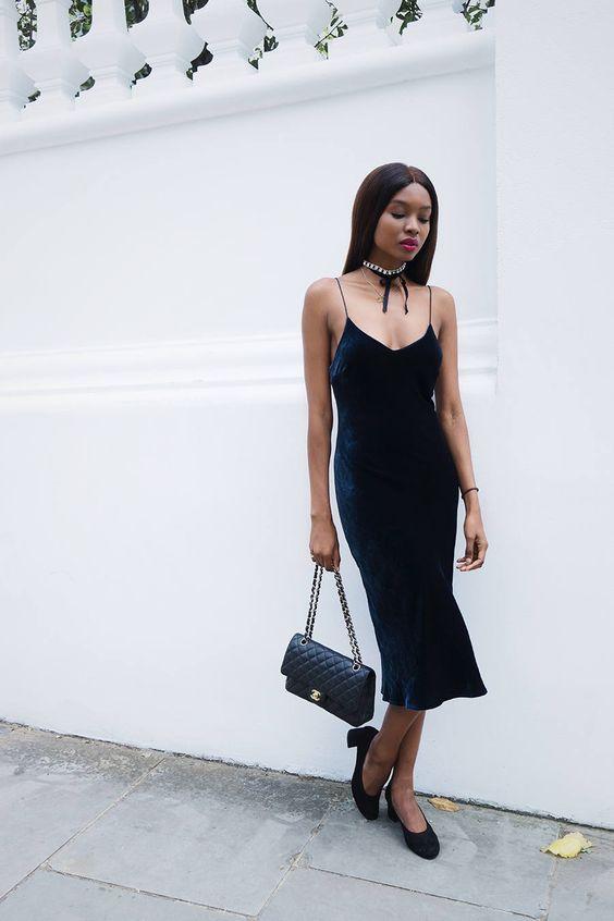 Bisous Natasha Velvet Dress Chanel Bag Pearl Choker