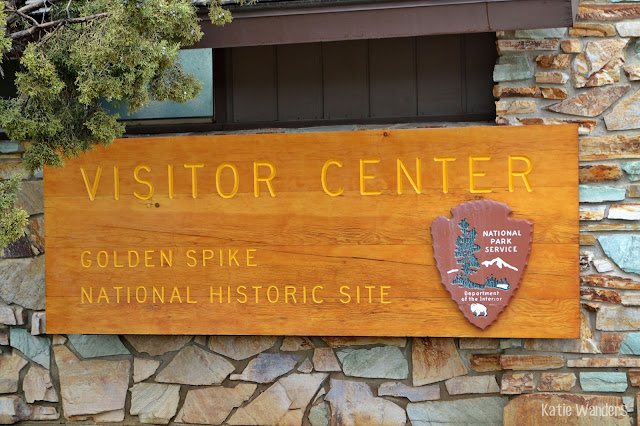 Visitor center sign at Golden Spike