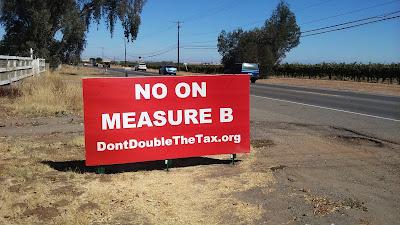 Dontdoublethetax.org, No On Measure B Signs Pop-up in Rural Elk Grove