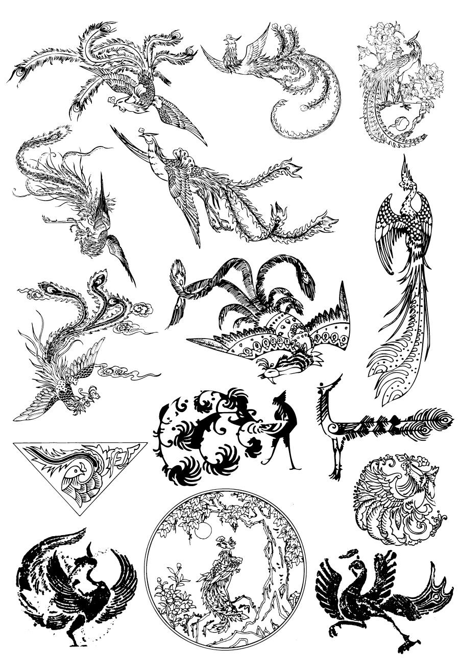 Vector Clip art & Photo Free Download: Vector : Phoenix & Dragon #1