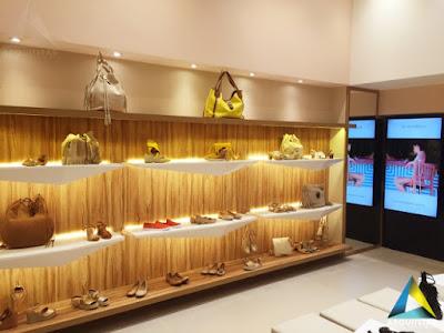 projeto arquitetura loja calçados femininos praleiras expositor iluminado