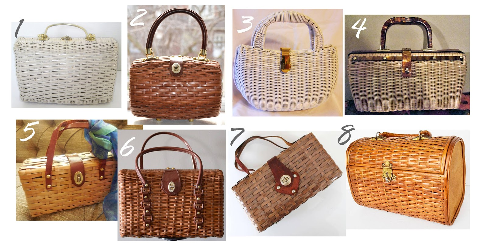 Vintage wicker handbags, vintage handbags, vintage wicker baskets, vintage purses, and etsy vintage handbags