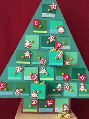 Decorated wooden Advent calendar from Hobbycraft
