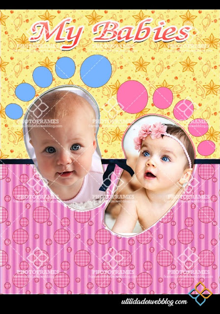 Marco para colocar 2 fotos de bebés