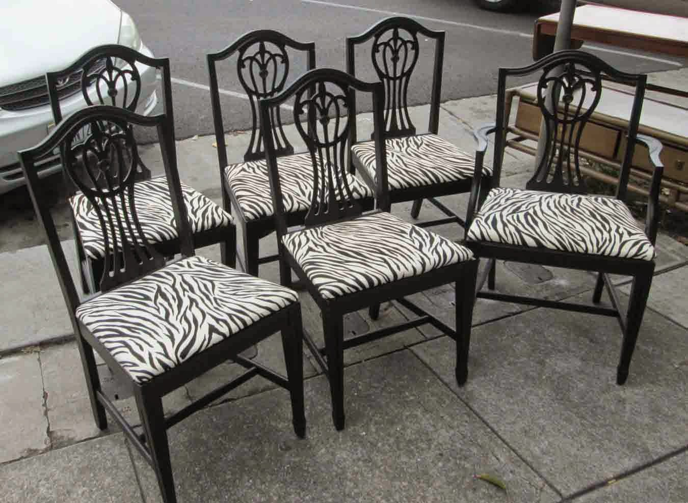 Zebra Dining Chairs Hanging Chair Bubble Uhuru Furniture And Collectibles Sold Set Of 6