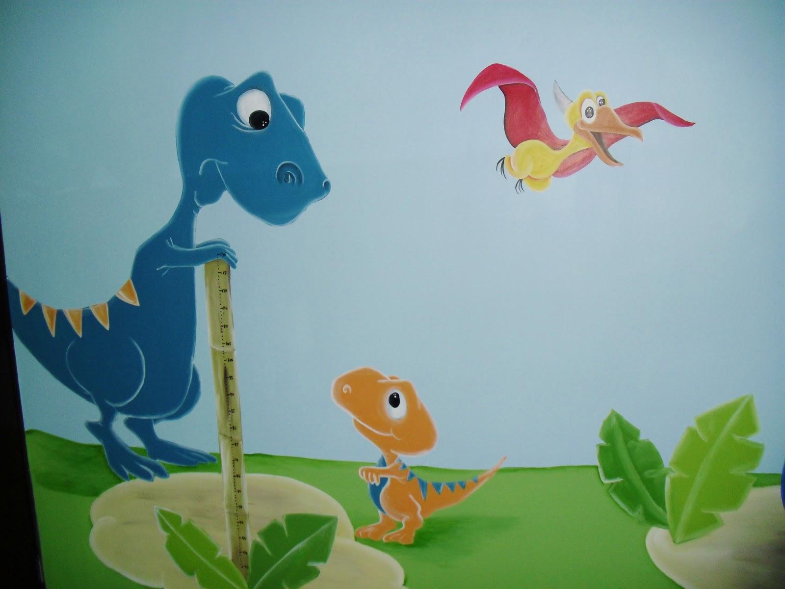 Murales infantiles dinosaurios recamara de marcelo - Dibujos para paredes de bebes ...