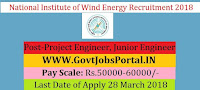 National Institute of Wind Energy Recruitment 2018 –13 Project Engineer, Junior Engineer