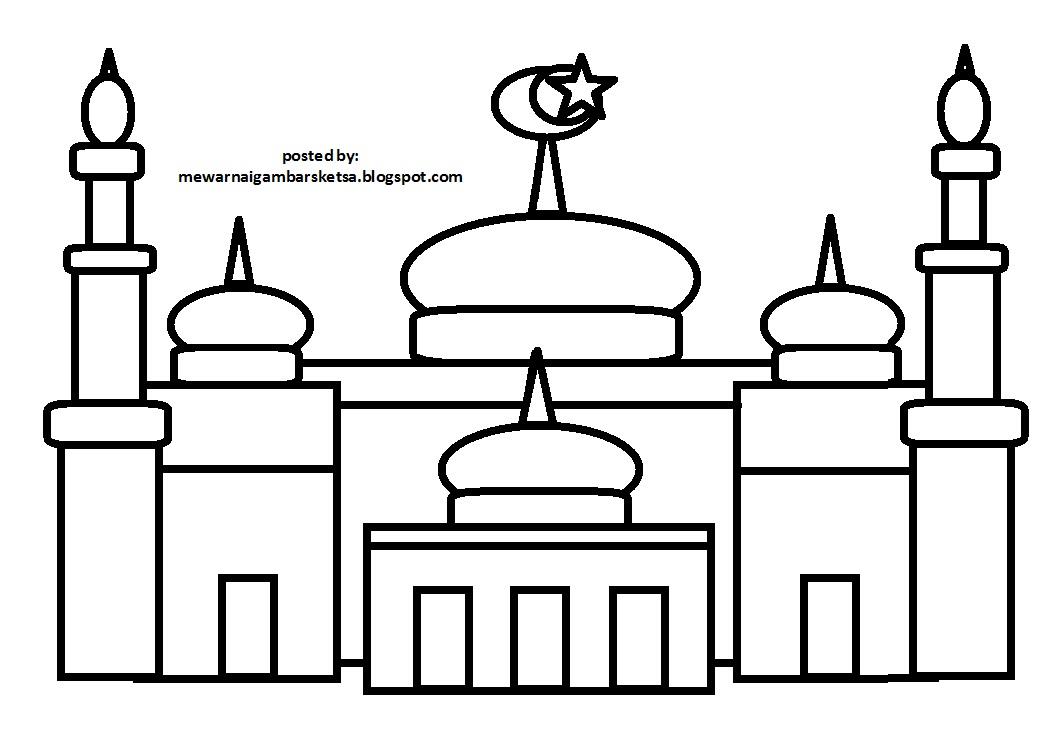 Sketsa Gambar Pemandangan Masjid