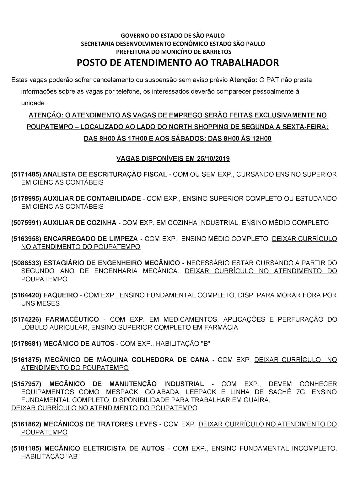 VAGAS DE EMPREGO DO PAT BARRETOS-SP 25/10/2019