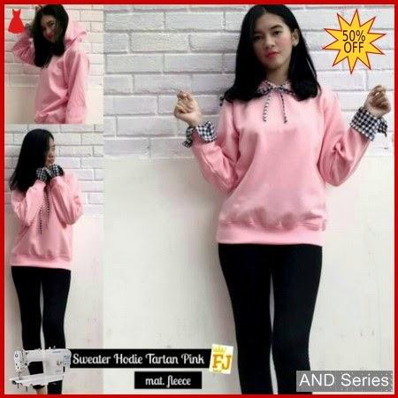 AND148 Sweater Wanita Lucu Hoodie Tartan Pink BMGShop