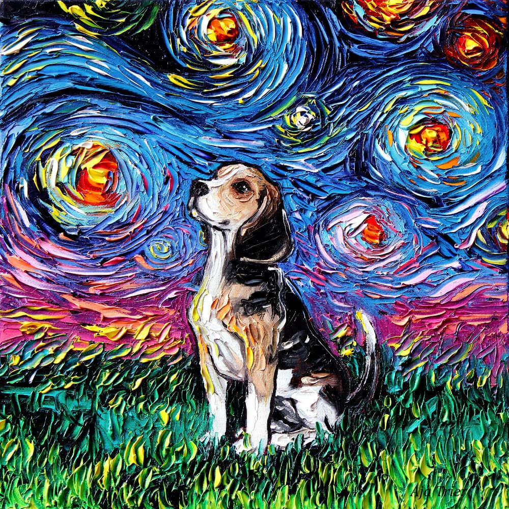 02-Beagle-Aja-Trier-The-Starry-Night-Dog-Paintings-www-designstack-co