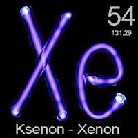 Ksenon (Xenon) elementi üzerinde ksenonun simgesi, atom numarası ve atom ağırlığı.