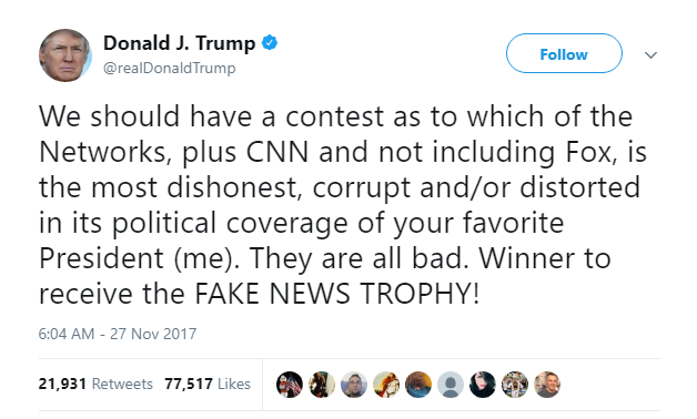 Donald Trump wants a Fake news contest where the winner receives a Fake News Trophy