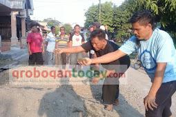 Warga Desa  Bugel Protes, Pembangunan Jalan Diduga  Dibawah Standar