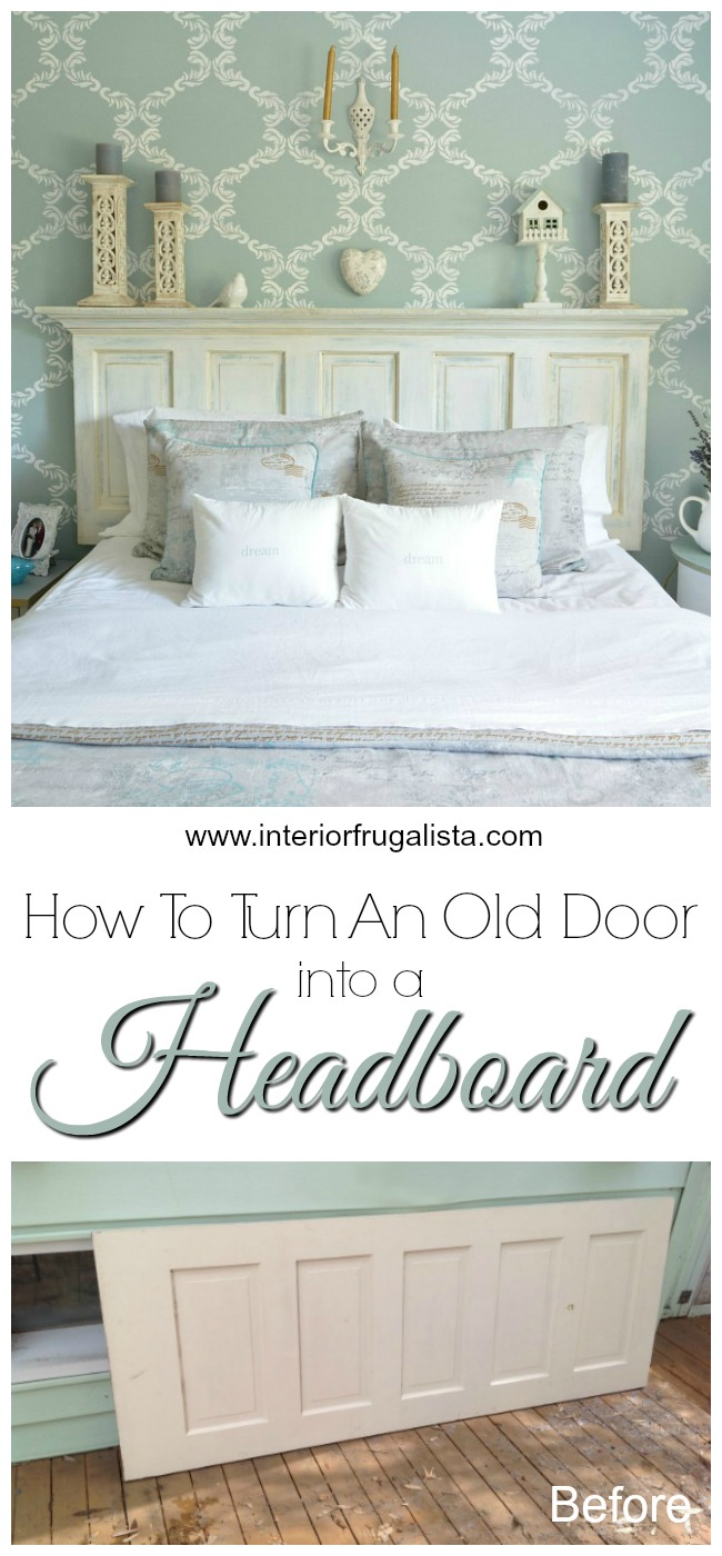 Old Panel Door Headboard Before and After