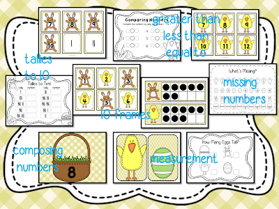 20 Instant Easter themed Math and Literacy centers for PreK, Kindergarten, and First Grade. Packed with fun literacy ideas and math activities. Common Core aligned. #easter #eastercenters #centers #mathcenters #literacycenters #kindergartencenters #kcenters #kindergarten #1stgrade #literacy