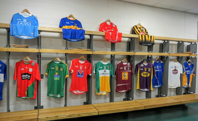 Irish GAA jerseys hanging in the locker room at Croke Park in Dublin