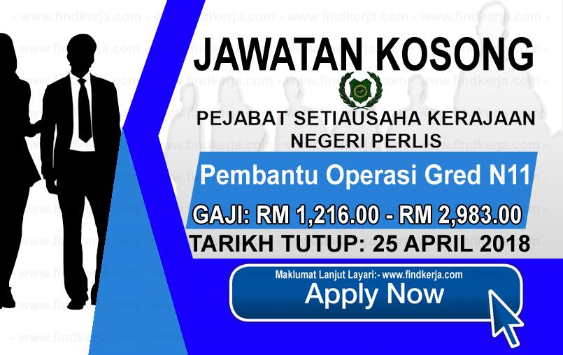 Jawatan Kerja Kosong Pejabat Setiausaha Kerajaan Negeri Perlis logo www.findkerja.com april 2018