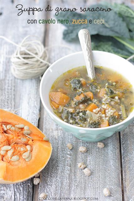 zuppa di grano saraceno con cavolo nero zucca e ceci