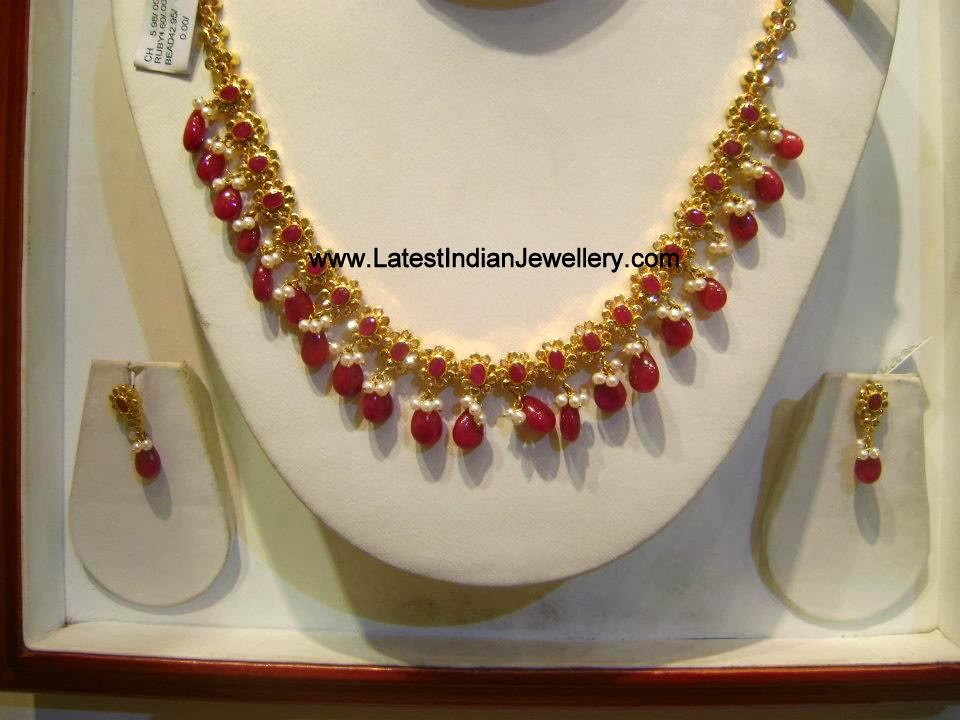 Simple Ruby Drops Necklace