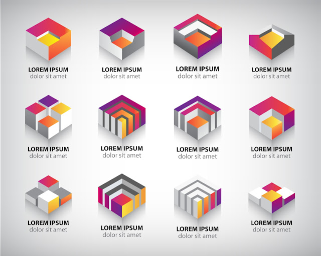 Vector Set - Set of Abstract Colorful 3d Logos 4
