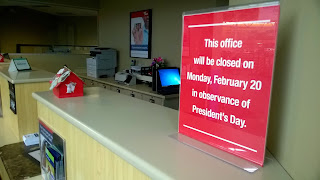 We are closed on Presidents Day