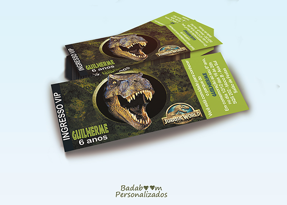 Jurassic World, convite, ingresso, arte digital, convite digital