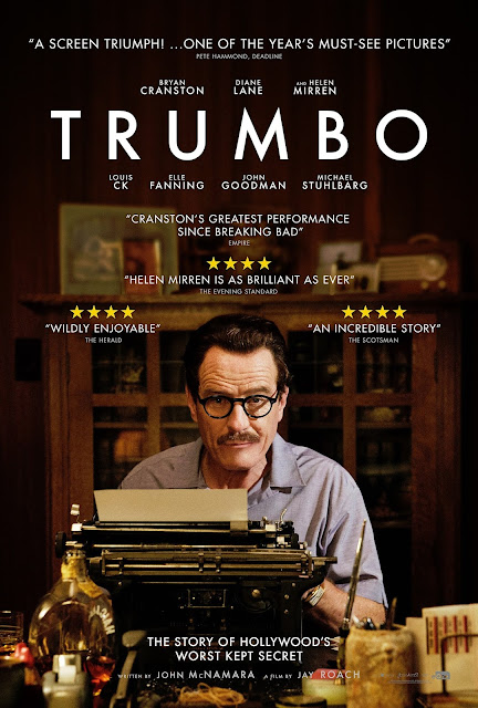 Trumbo, Movie Poster, Directed by Jay Roach, starring Bryan Cranston, Diane Lane, Helen Mirren